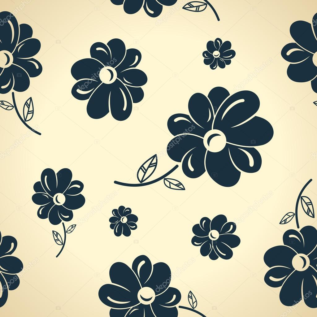 Flores Vintage Negro Fondo Transparente Vector De Stock
