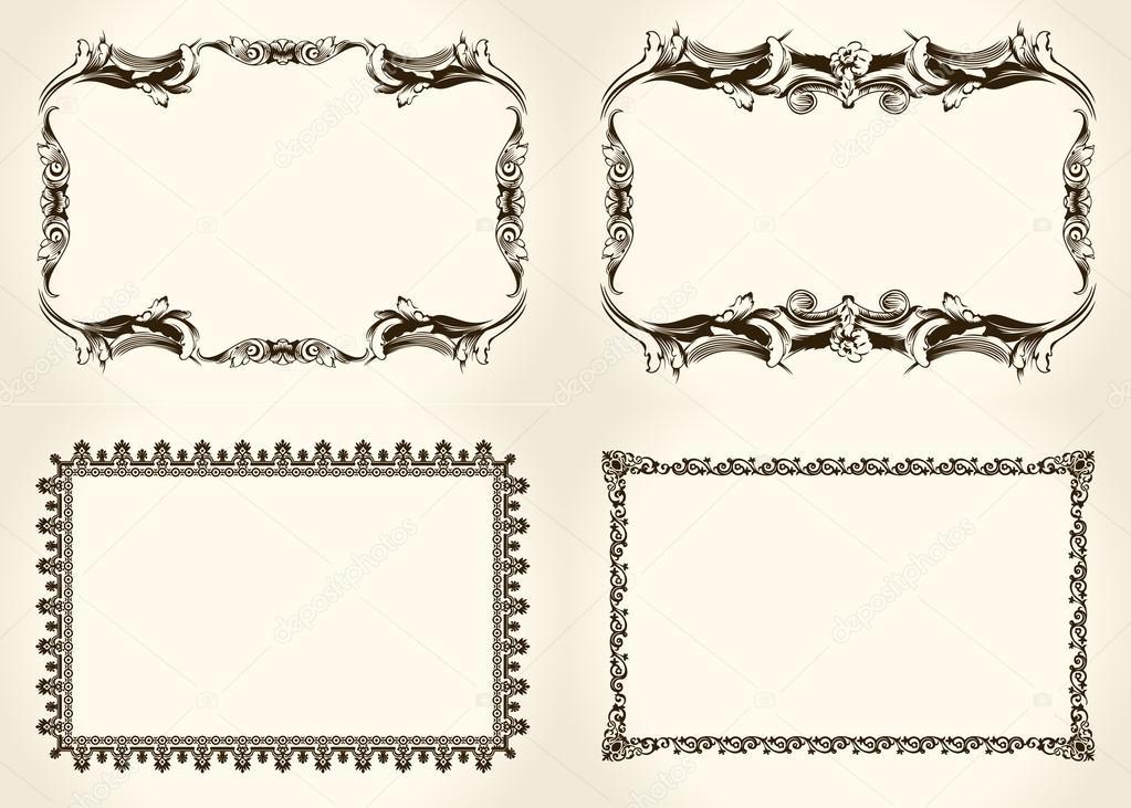 Vector frameworks set. Ornate and vintage design elements