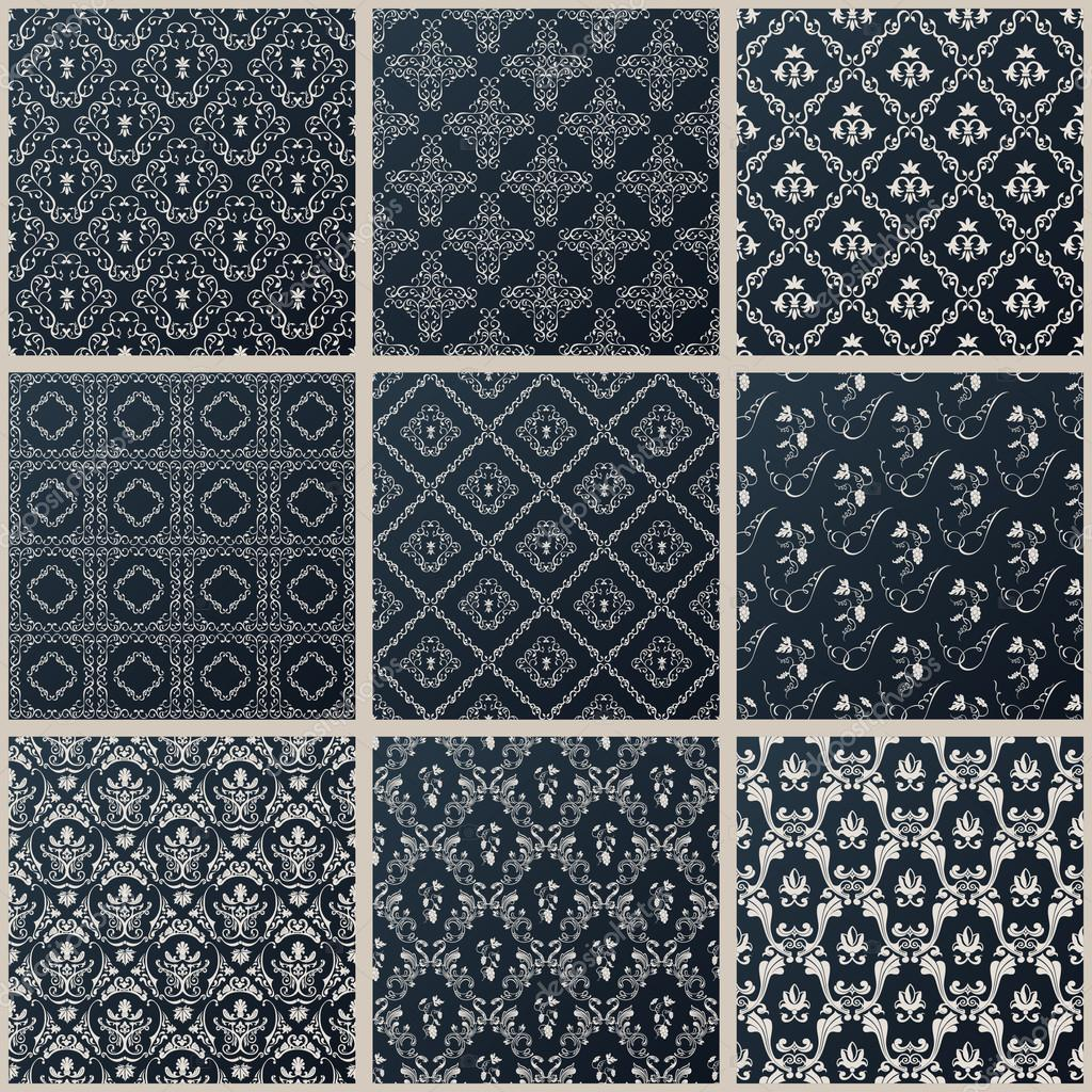 Bettwasche Barock Muster ~ Vektor nahtlose vintage hintergrund set schwarz barock