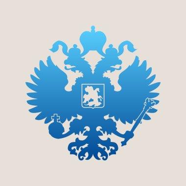 Russian coat of arms double-headed eagle emblem. Symbol of empir