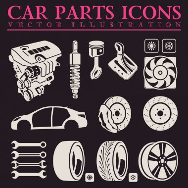 Car parts icons set. Vector auto service repair tool