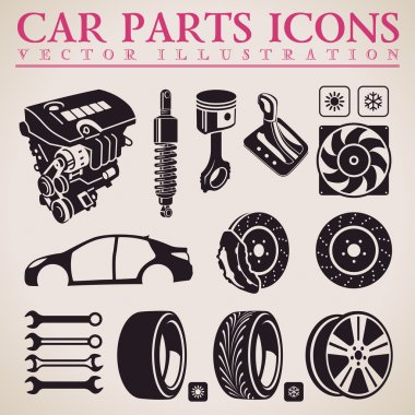 Car parts vector set. Service icons. Engine, wheel, transmission