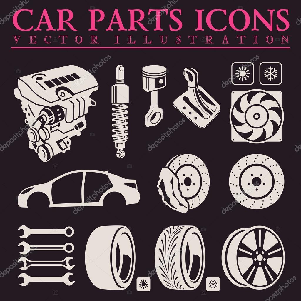 Car parts icons set. Vector auto service repair tool — Stock Vector ...