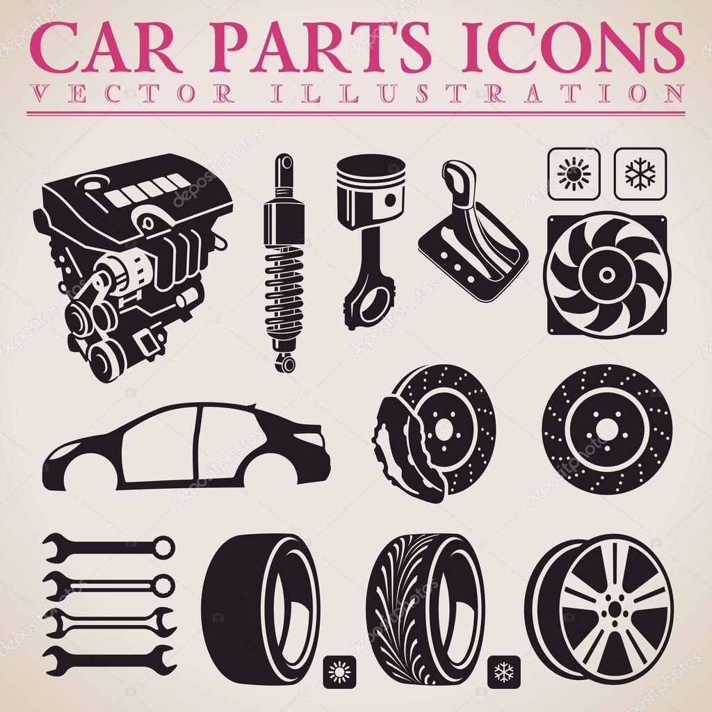 Car parts vector set. Service icons. Engine, wheel, transmission ...