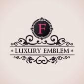 Fotografie Luxury logo. Calligraphic pattern elegant decor elements. Vintage