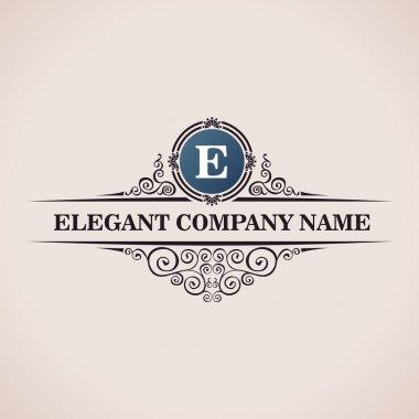 Luxury logo. Calligraphic pattern elegant decor elements. Vintage vector