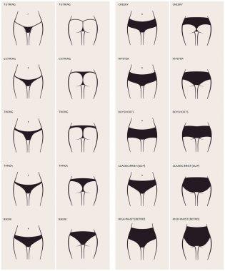 10 types of women's panties. Vector set of underwear. Silhouette