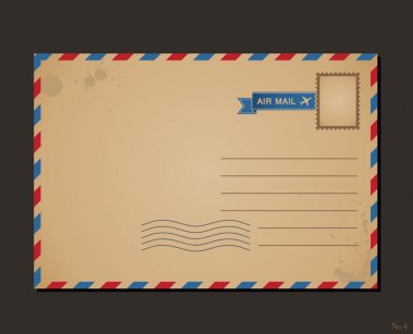 Vintage postcard and postage stamps. Design envelope pattern and letters clip art vector