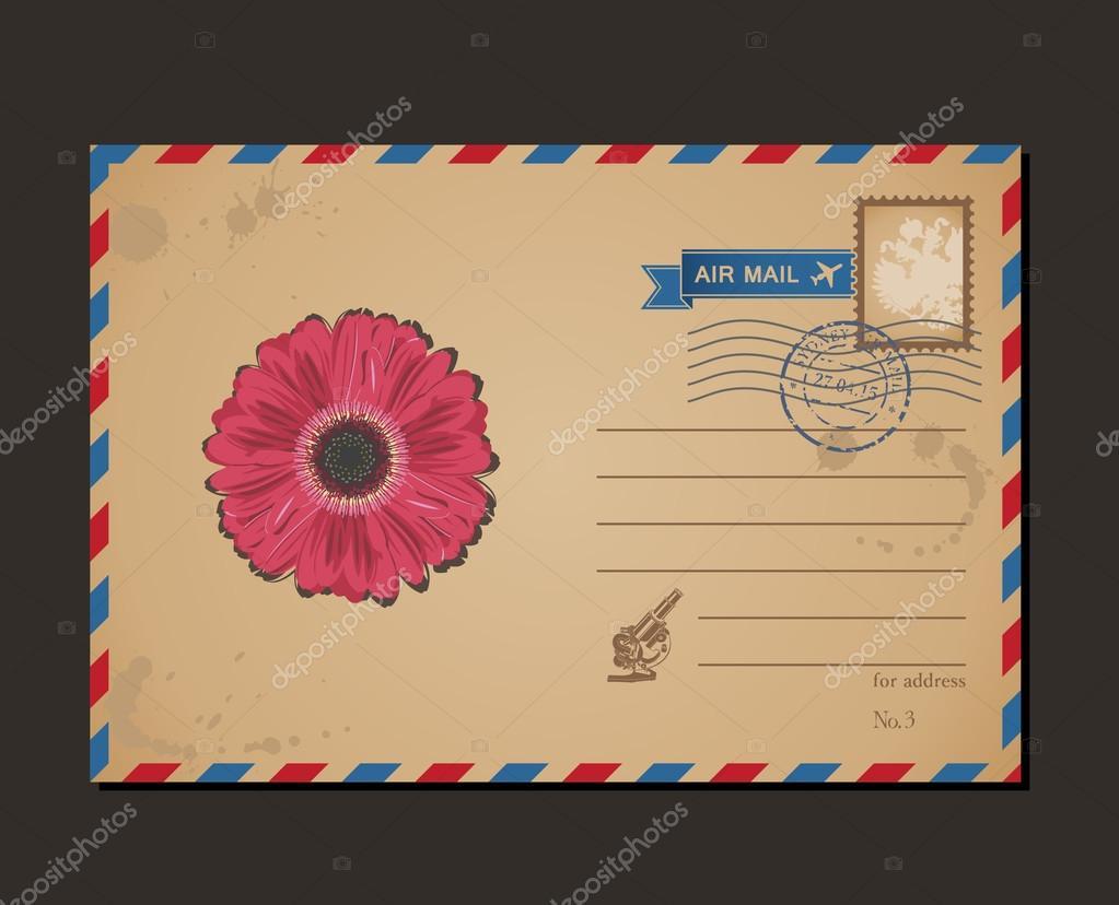 Alte Ansichtskarte Und Briefmarken Blume Umschlag Muster Briefe