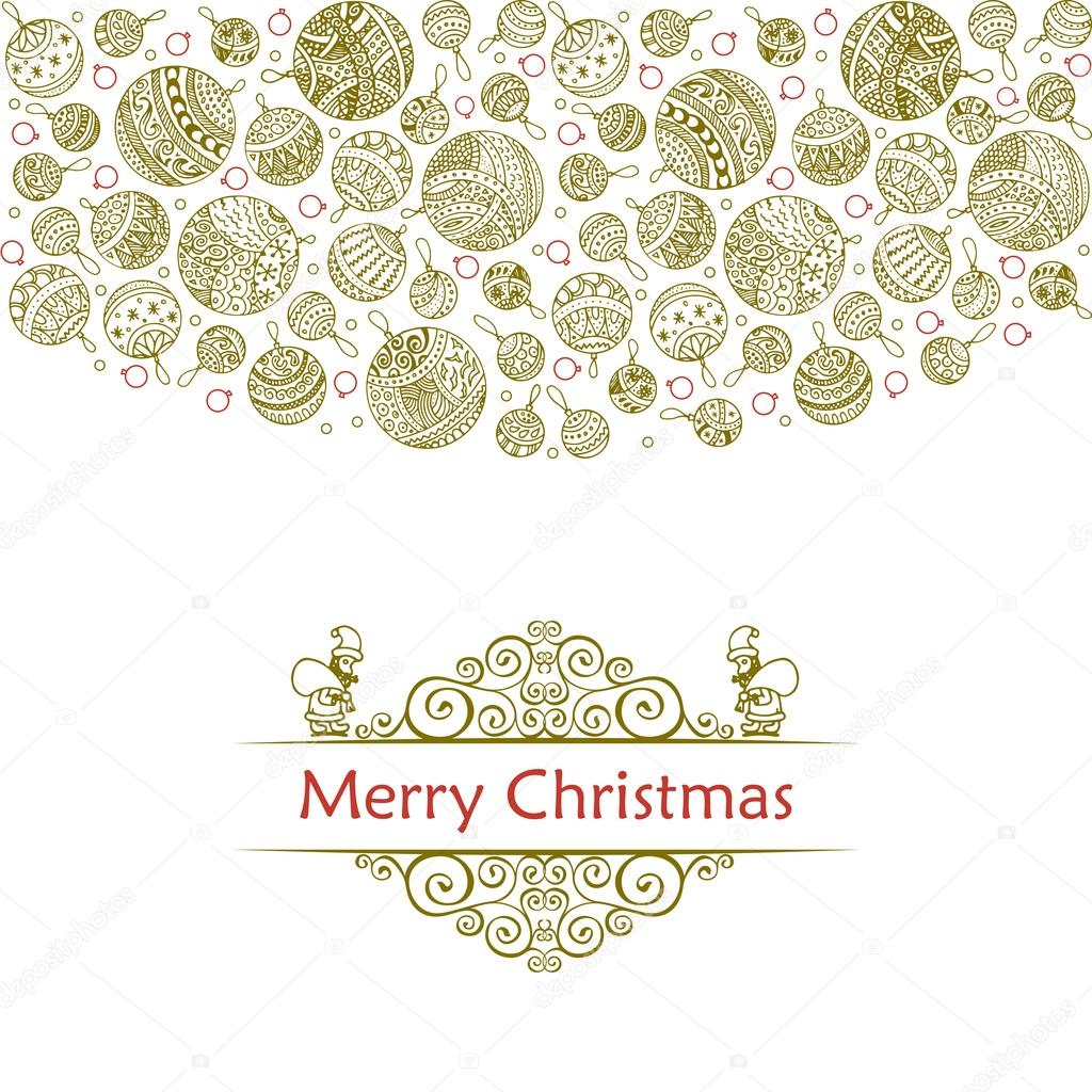 merry christmas balls doodle pattern of line icons with ornaments