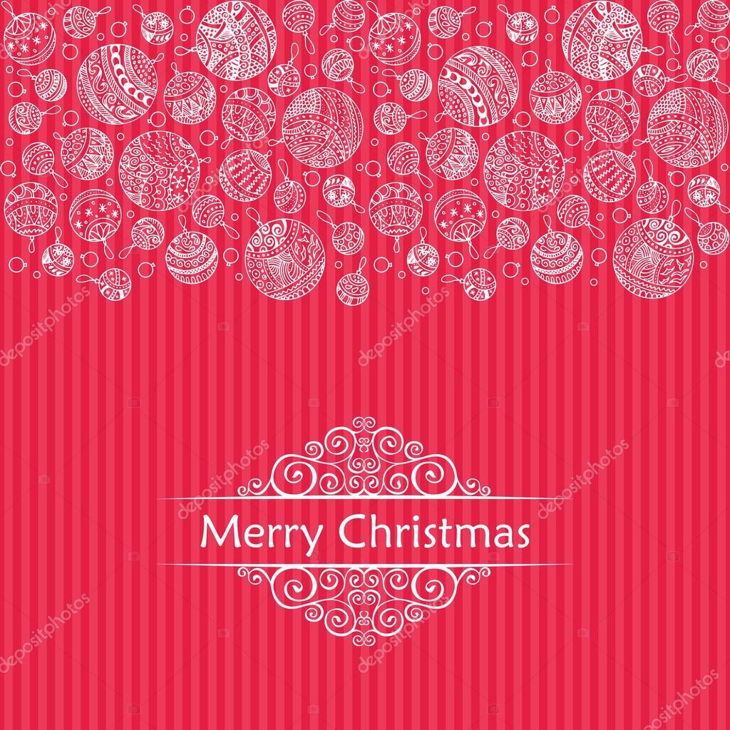 Frohe Weihnachten Kugeln Gekritzel Muster der Zeile Symbole mit ...