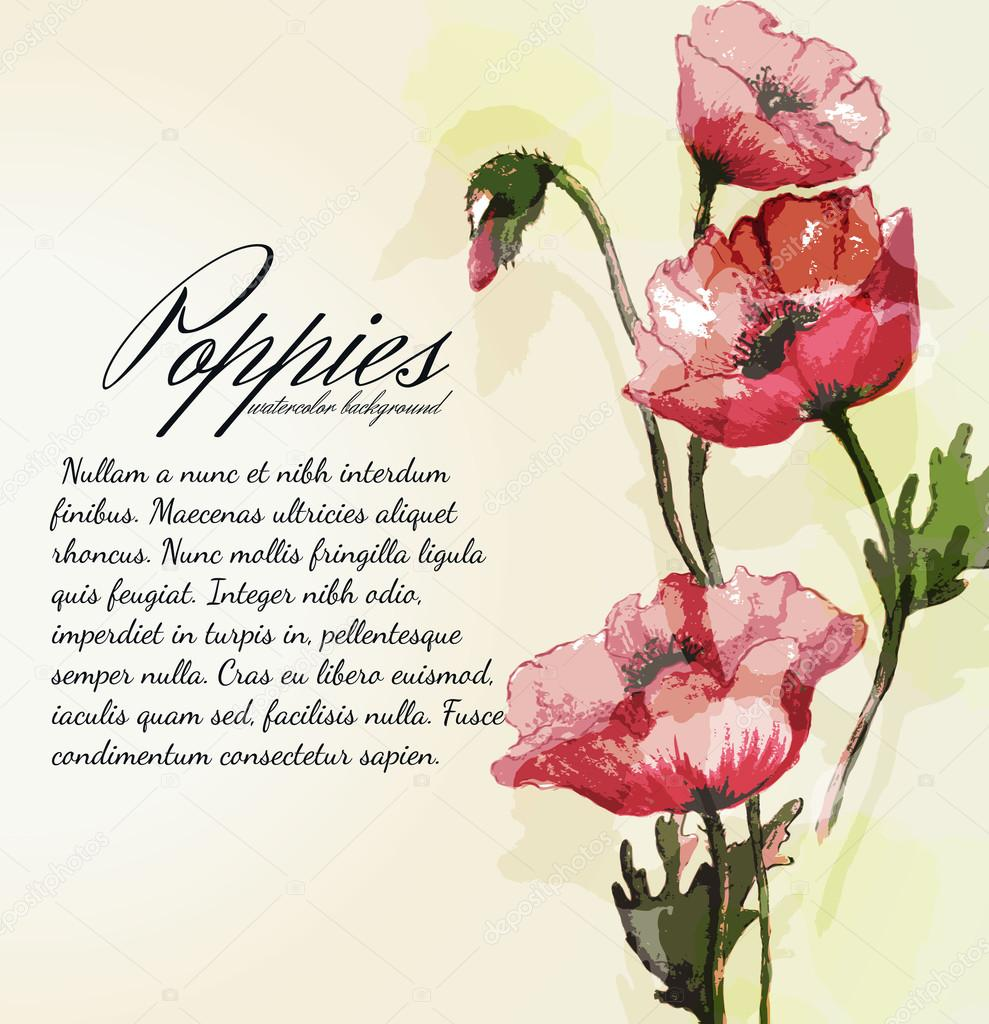 Cute background with watercolor peonies