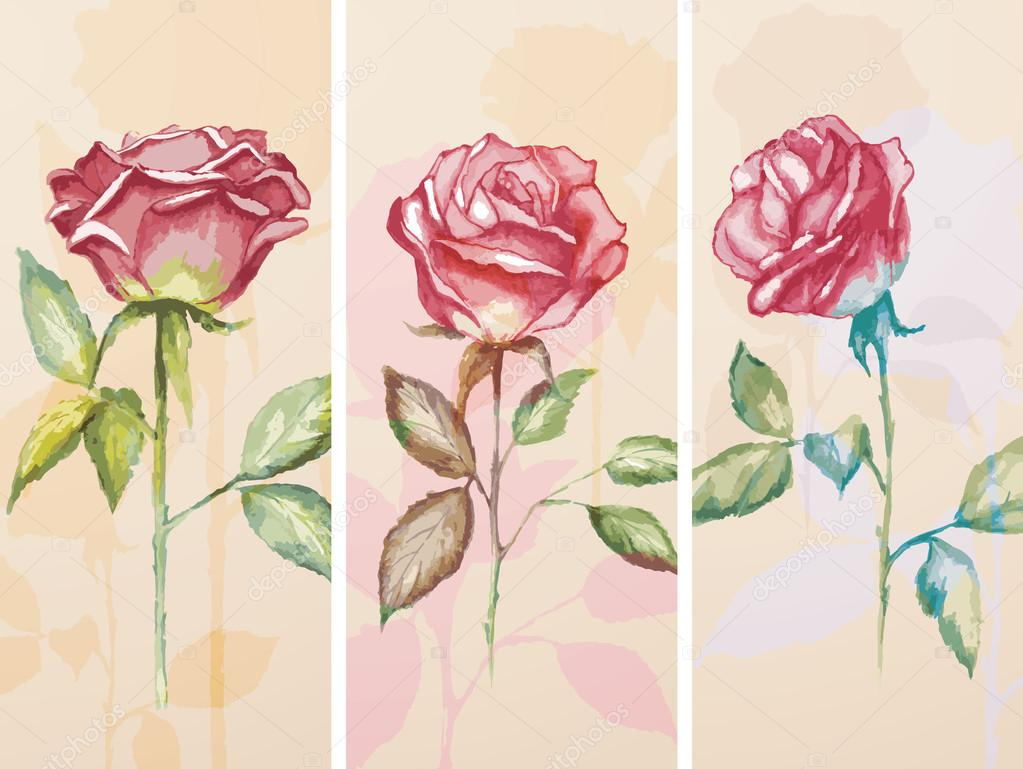 Set of three banners with roses