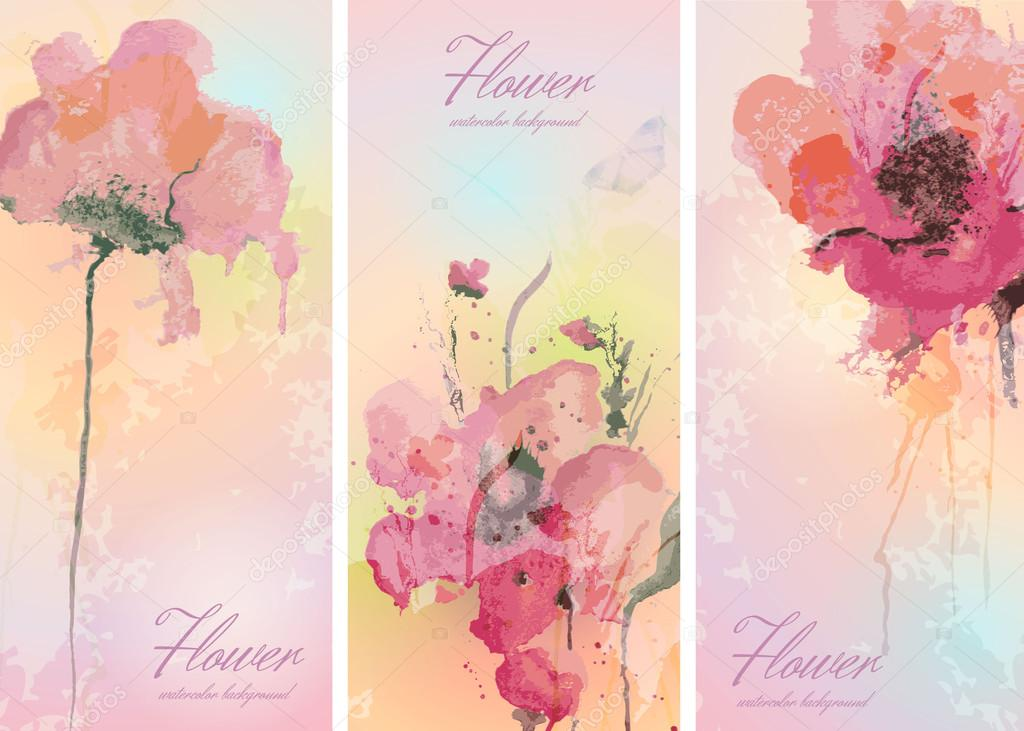 Set of three banners with flowers