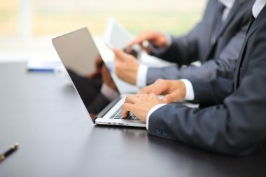 business people working with digital tablet and laptop