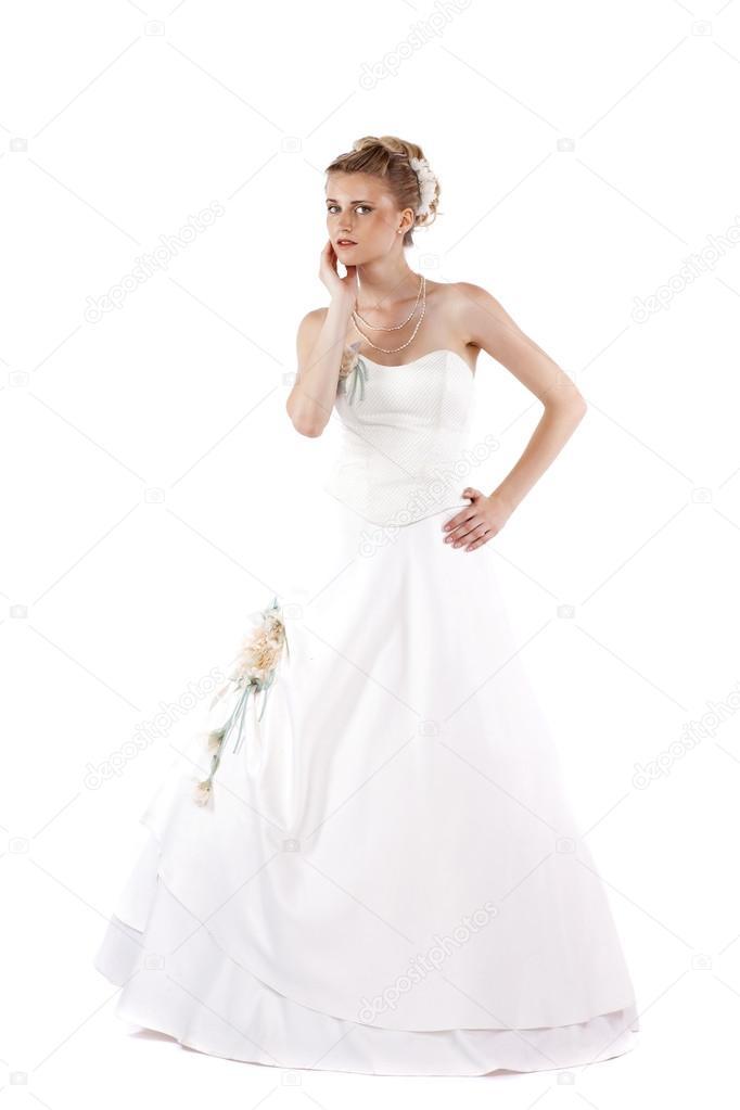 Porträt des wunderschönen braut brautkleid tragen — Stockfoto ...