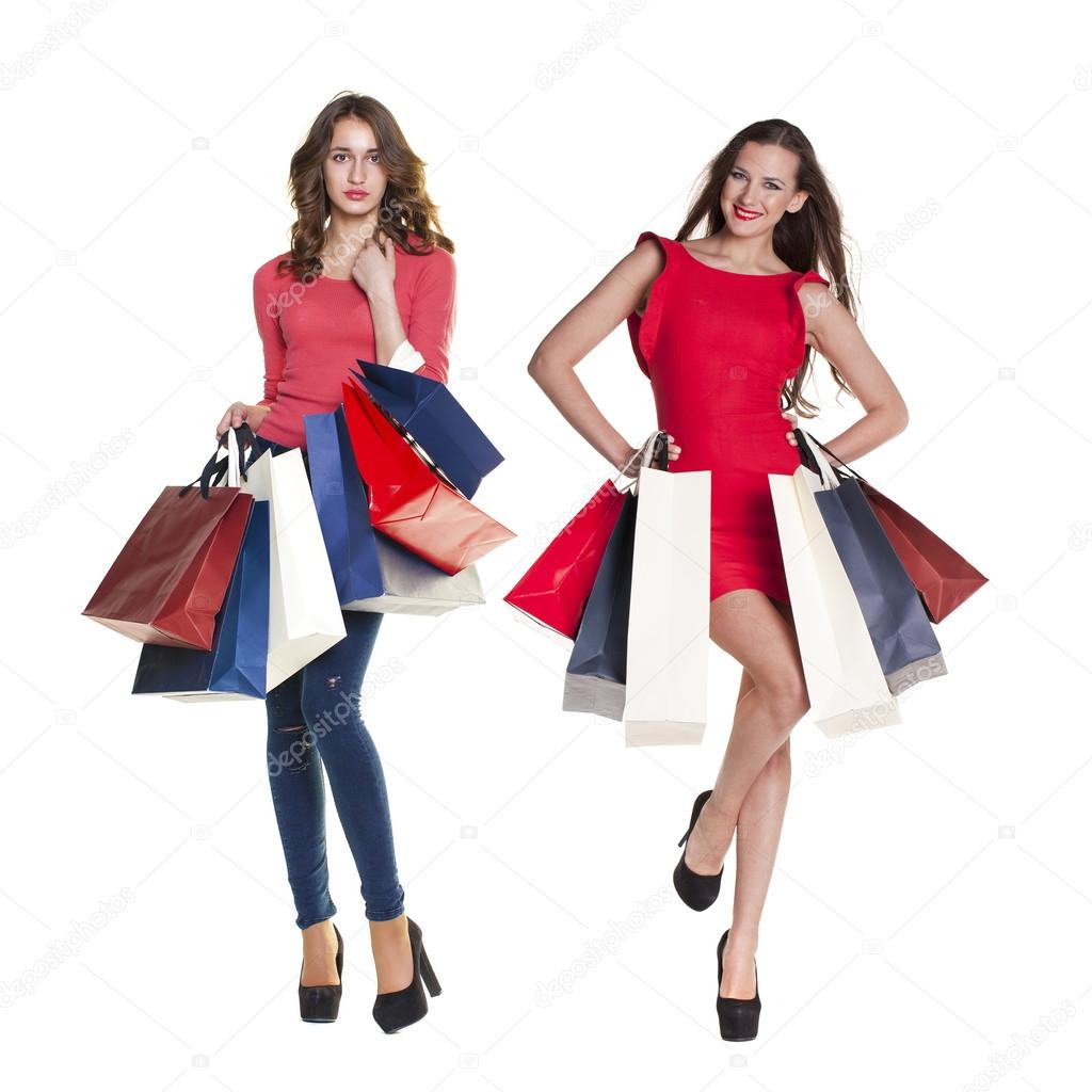 Woman posing with shopping bags isolated on white background full - Collage Two Shopping Women Full Length Portrait Of A Beautiful Young Brunette Girls Posing With Shopping Bags Isolated On White Background Photo By