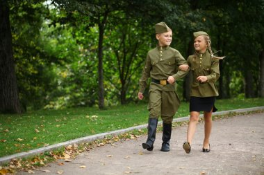 Two children in military uniforms of the Great Patriotic War