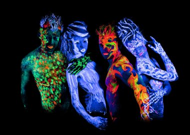 Four - Body art glowing in ultraviolet light
