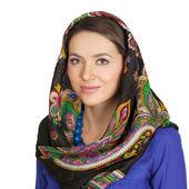 Krása ženy v národním vzorovaná šála