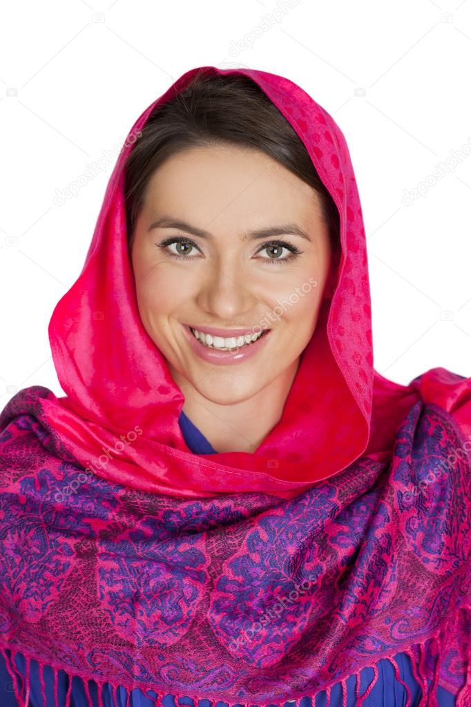 Beauty woman in the national patterned shawl