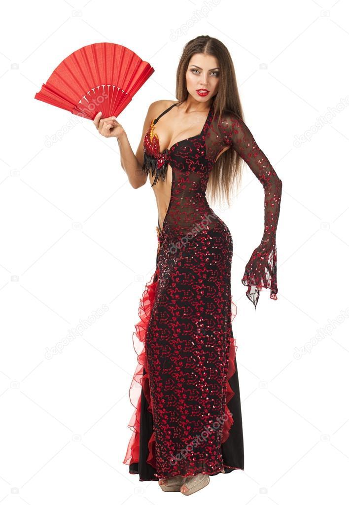 5803740a63 Bailarina de flamenco española tradicional mujer bailando en un vestido  rojo– Imagen de Archivo