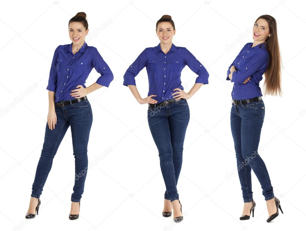 b9f183e9056a Κοντινό πλάνο με πορτρέτο του ένα όμορφο γυναίκες σε μπλε πουκάμισο