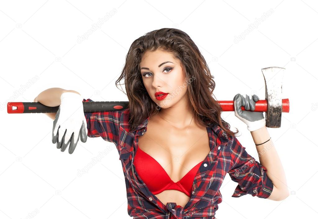 Sexy brunette with an ax in his hand, isolated on white backgrou