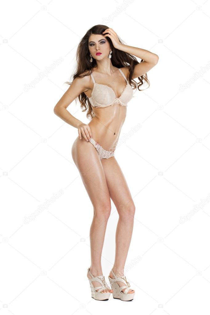 Mujer de belleza morena hermosa de cuerpo entero en ropa interior ...