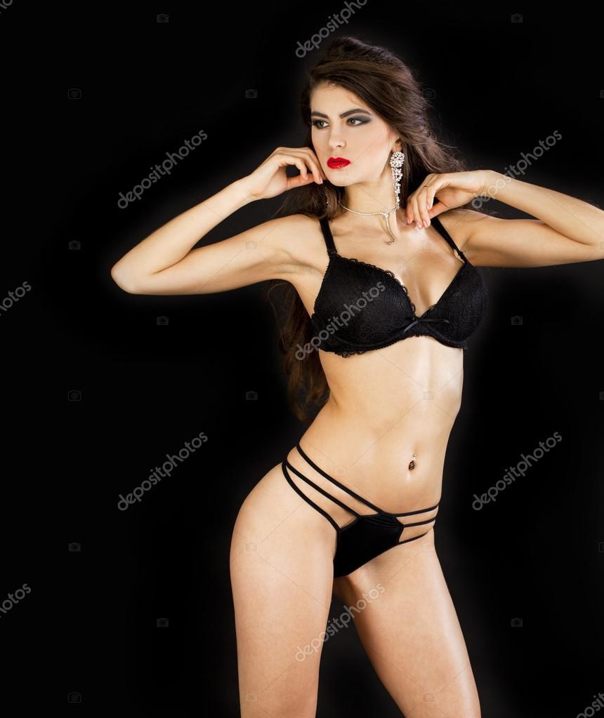 Retrato De Moda De Una Modelo Profesional En Ropa Interior Sexy Negra U2014  Foto De Stock