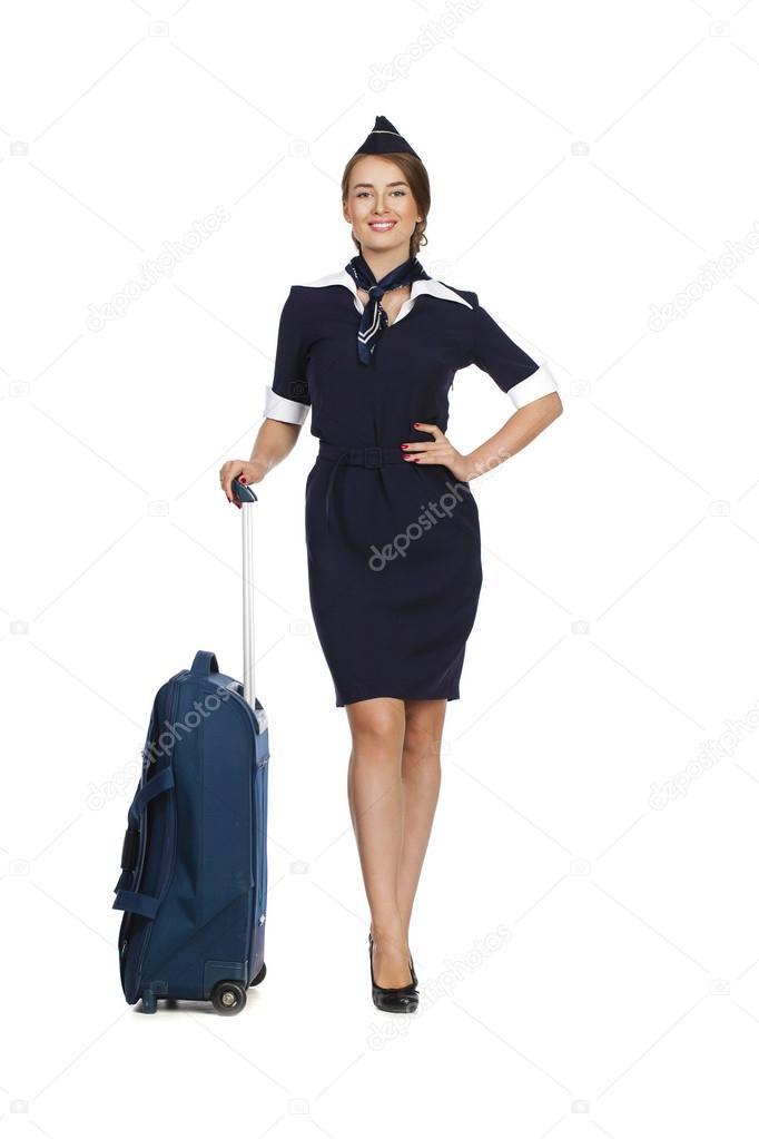 belle h tesse de l 39 air holding valise isol sur blanc backgrou photographie arkusha 77076113. Black Bedroom Furniture Sets. Home Design Ideas