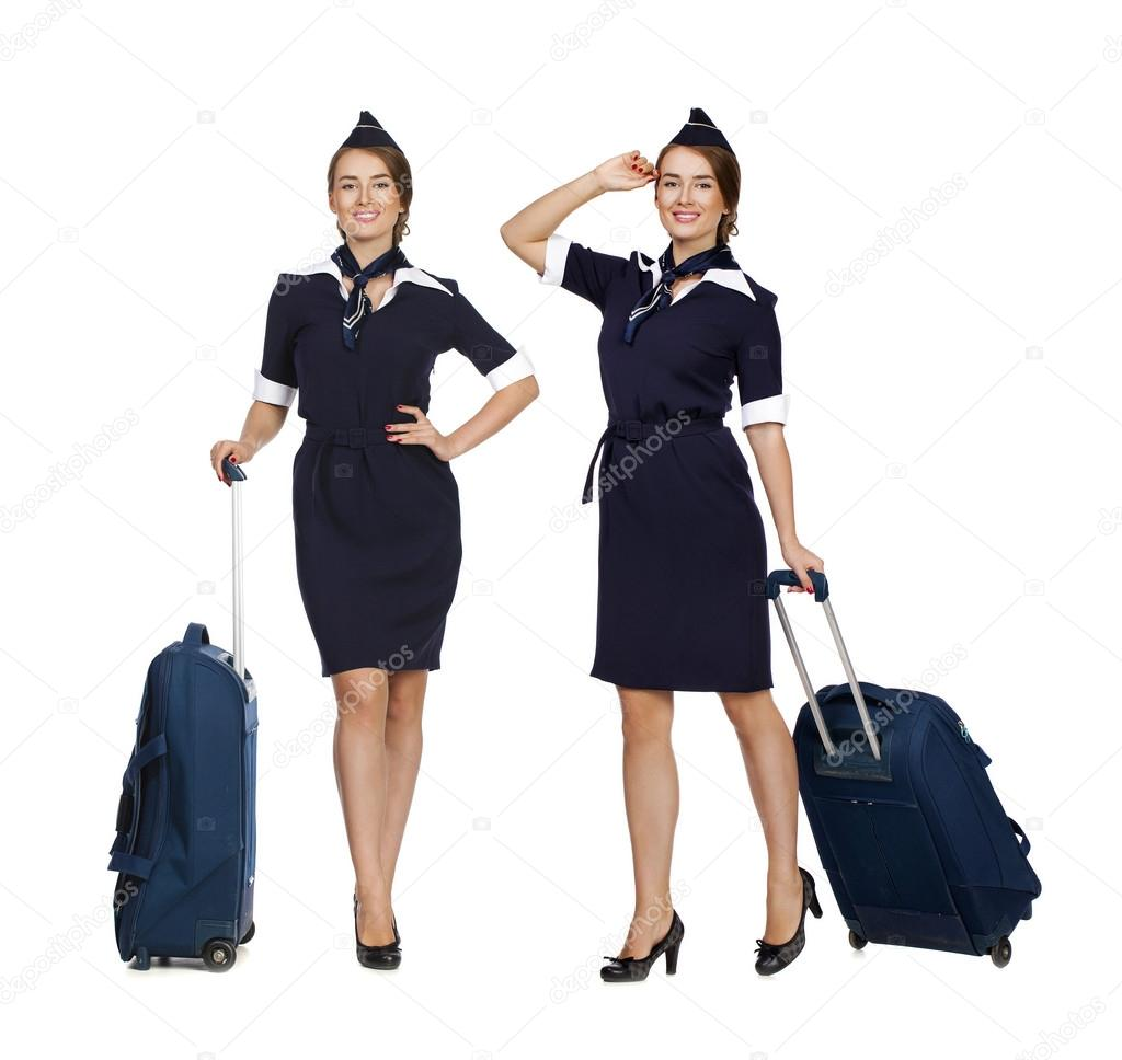 collage belle h tesse de l 39 air holding valise isol sur blanc photographie arkusha 77322230. Black Bedroom Furniture Sets. Home Design Ideas