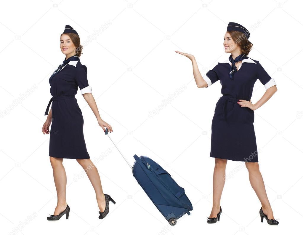 collage belle h tesse de l 39 air holding valise isol sur blanc photographie arkusha 77322282. Black Bedroom Furniture Sets. Home Design Ideas