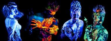 Four elements. Body art glowing in ultraviolet light