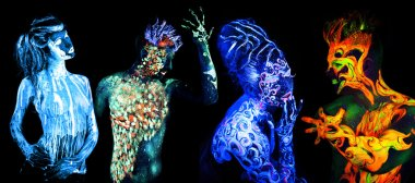 Four elements. Body art glowing in ultraviolet light