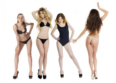 Model tests, Four Young slim women posing in sexy underwear