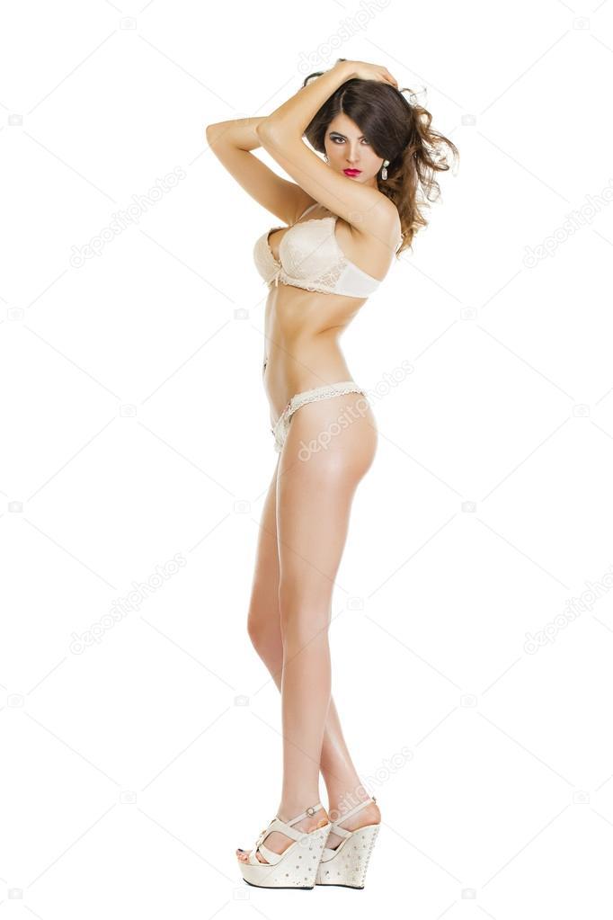 039125a1f7374 Schöne Ganzkörper Brünette Schönheit Frau in Reizwäsche — Stockfoto ...