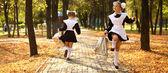 Photo Happy little schoolgirl go home from school
