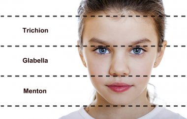 ideal beauty. Symmetric of the female face of a little girl