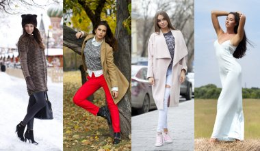 Collage of four different models in fashionable clothes for the