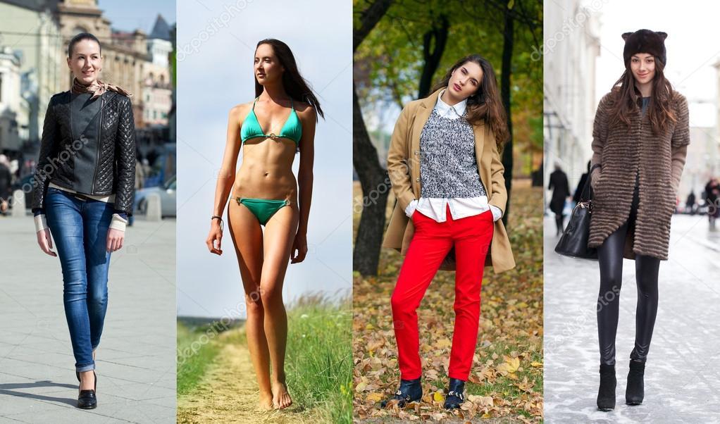 Collage di quattro diversi modelli in vestiti alla moda per il foto stock arkusha 95621402 - Diversi stili di moda ...