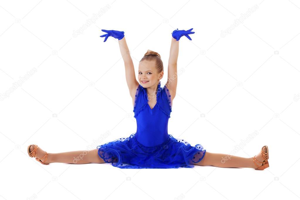 Boldog kis lány tánc ruha kék — Stock Fotó © arkusha  95846626 92d2342c0d