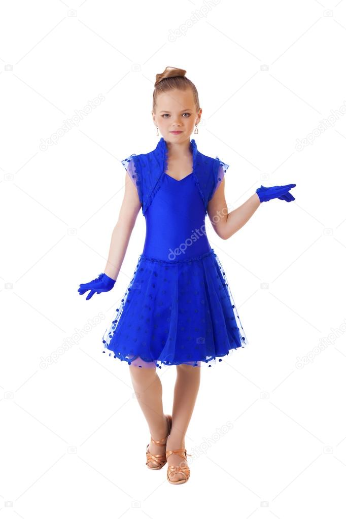 Boldog kis lány tánc ruha kék — Stock Fotó © arkusha  95846710 945714c85a