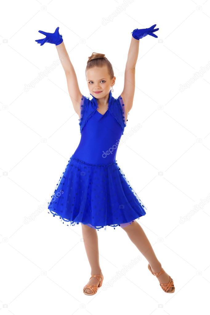 Boldog kis lány tánc ruha kék — Stock Fotó © arkusha  95846784 4524584c8f