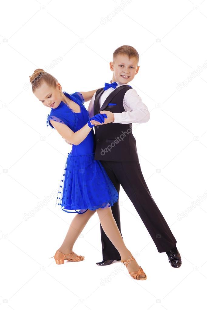 Boldog kis lány tánc ruha kék — Stock Fotó © arkusha  96139782 8131c6a807