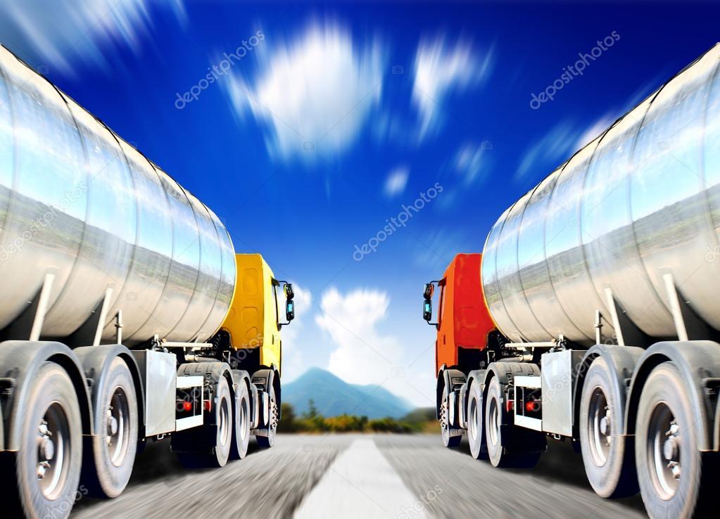Big trucks on  asphalt road