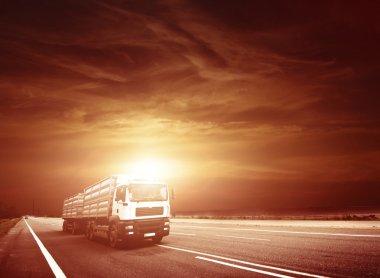 Modern Semi Truck in Motion.