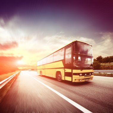 driving bus on road