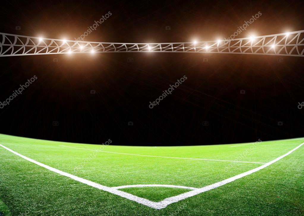 Lichter In Der Nacht Und Grossen Fussball Stadion Stockfoto