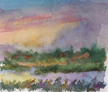 Watercolor landscape of summer sunset over river